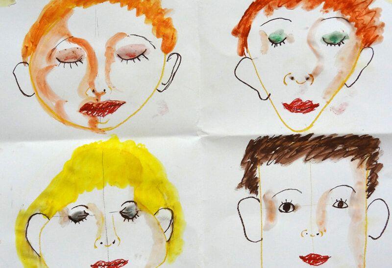 In der Vorübung werden die verschiedenen Gesichtsformen erlernt